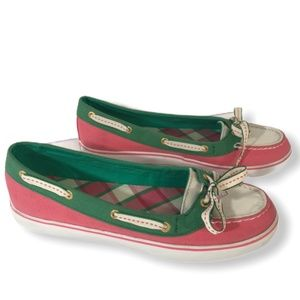 Women's SPERRY Top-Sider Pink Green White Flats